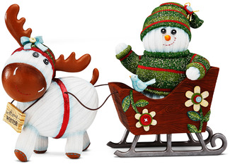 "Welcome Winter by The Sockings - 6"" x 9.5"" Snowman and Moose with Sleigh"