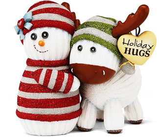 "Holiday Hugs by The Sockings - 4"" Snowman Hugging Moose"