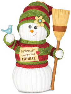 "Friends Warm the Heart by The Sockings - 7"" Snowman with Broom & Bird"