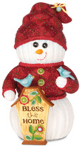 "Bless this Home by The Sockings - 6.5"" Snowman with Birdhouse"