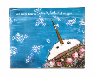 "Snowy Hearts by Light Hearts - 10"" x 8"" Fiber Optic Lit Canvas Plaque"