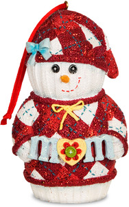"Mom by The Sockings - 4"" Snowman Ornament"