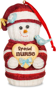 "Nurse by The Sockings - 4"" Snowman Ornament"