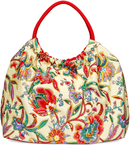 "Indienne Floral Cotton Bag by H2Z - Bangle Bracelets and Earrings - 16.5""x20""x9"" Ecro/Coral Bag"