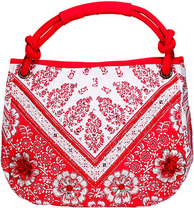 "Vanessa Floral Cotton Bag by H2Z - Destination Bags and Scarves - 13.25"" x 15"" Fuchsia Purse/Bag"