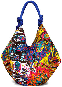 "Peacock Cotton Bag by H2Z - Bangle Bracelets and Earrings - 18"" x 15.25"" Colorful Purse/Bag"