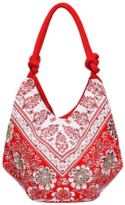 "Vanessa Floral Cotton Bag by H2Z - Destination Bags and Scarves - 14""x19.5""x8.5"" Coral Bag"