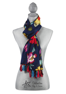 "Jade Floral Cotton Scarf by H2Z - Destination Bags and Scarves - 20""x71"" Navy Scarf"