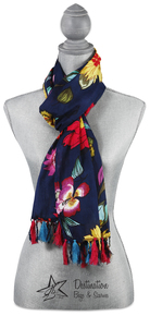 "Jade Floral Cotton Scarf by H2Z - Bangle Bracelets and Earrings - 20""x71"" Navy Scarf"