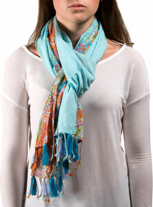 "Paisley Cotton Scarf by H2Z - Bangle Bracelets and Earrings - 20""x71"" Blue Scarf"