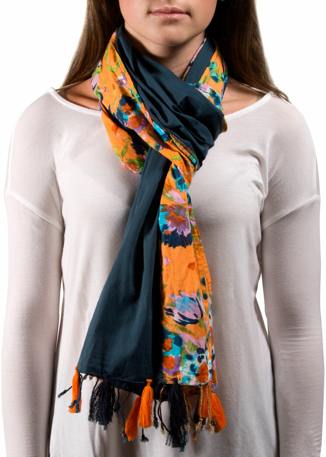 "Sheena Flower Cotton Scarf by H2Z - Destination Bags and Scarves - Sheena Flower Cotton Scarf - 20""x71"" Navy Scarf"