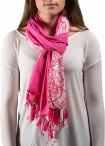 "Serene Flower Cotton Scarf by H2Z - Bangle Bracelets and Earrings - 20""x71"" Fuchsia Scarf"