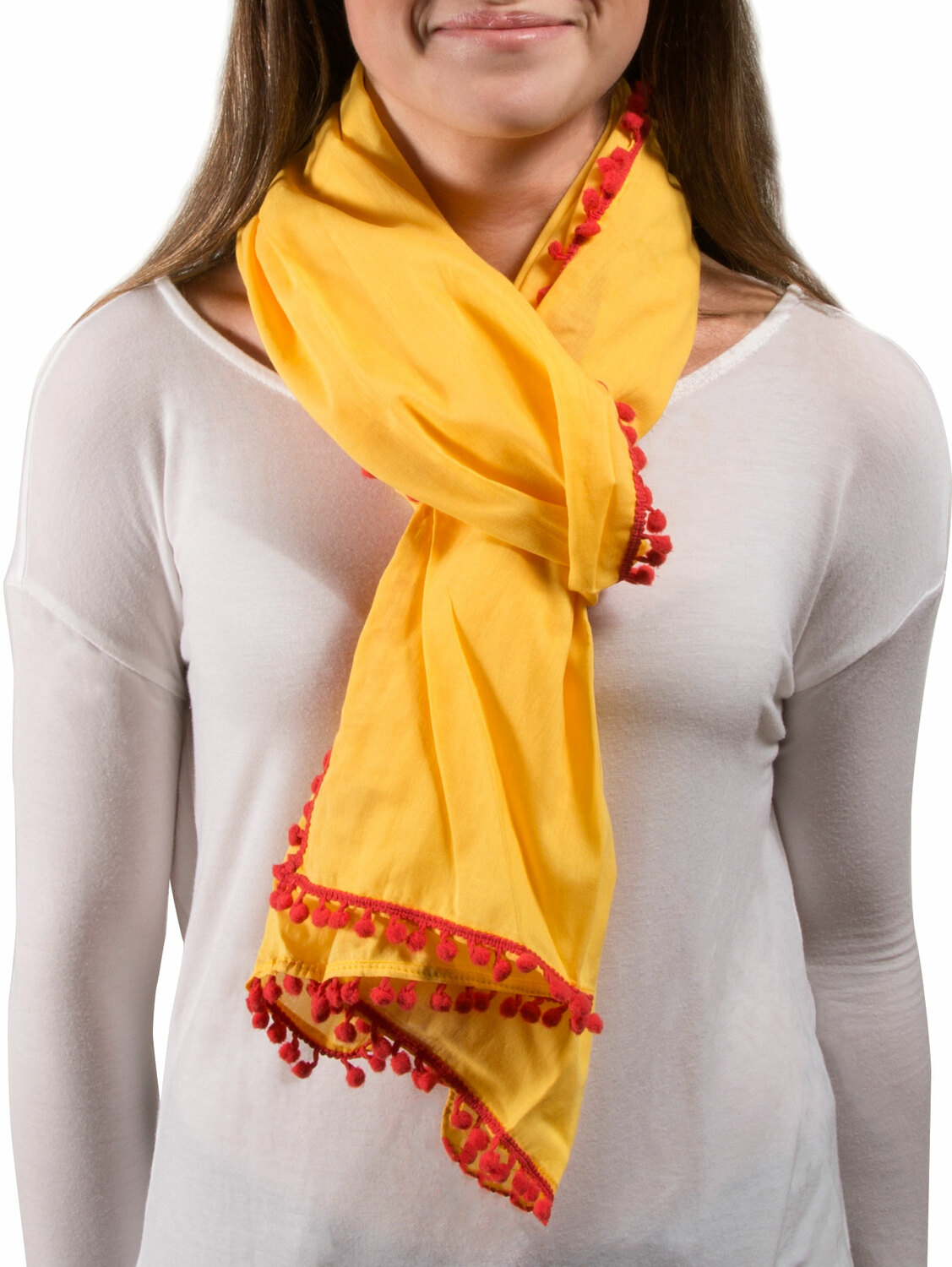 "Pom Pom Cotton Scarf by H2Z - Destination Bags and Scarves - Pom Pom Cotton Scarf - 20"" x 71"" Yellow Scarf"