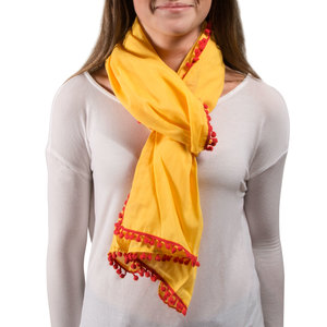 "Pom Pom Cotton Scarf by H2Z - Destination Bags and Scarves - 20"" x 71"" Yellow Scarf"