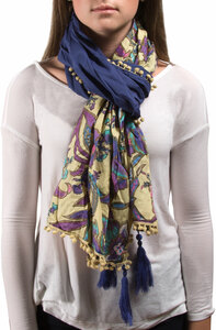 "Indienne Floral Cotton Scarf by H2Z - Destination Bags and Scarves - 20""x71"" Ecru/Pur Scarf"
