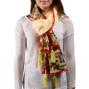 "Indienne Floral Cotton Scarf by H2Z - Destination Bags and Scarves - 20""x71"" Ecru/Coral Scarf"