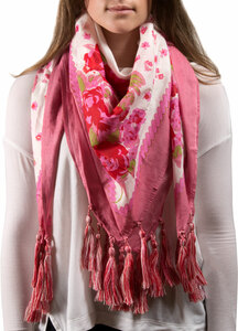 "Simone Floral Cotton Scarf by H2Z - Bangle Bracelets and Earrings - 40""x40"" Pink Scarf"