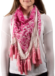 "Vanessa Floral Cotton Scarf by H2Z - Bangle Bracelets and Earrings - 40""x40"" Fuchsia Scarf"