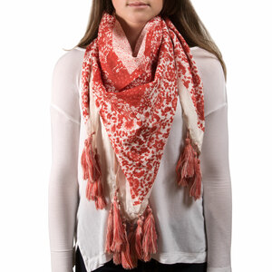 "Vanessa Floral Cotton Scarf by H2Z - Destination Bags and Scarves - 40""x40"" Coral Scarf"
