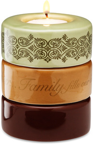 "Family (Green) by Calla - Trio - 3.25""x4"" Stack Candle Holder"