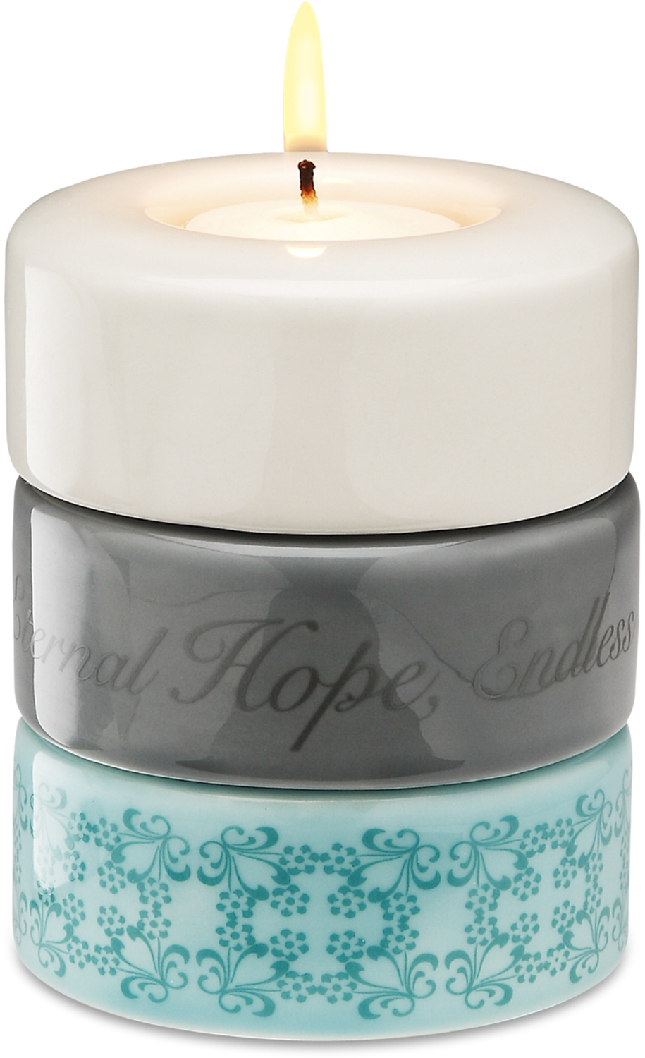 "Hope Faith Peace (Aqua) by Calla - Trio - Hope Faith Peace (Aqua) - 3.25""x4"" Stack Candle Holder"