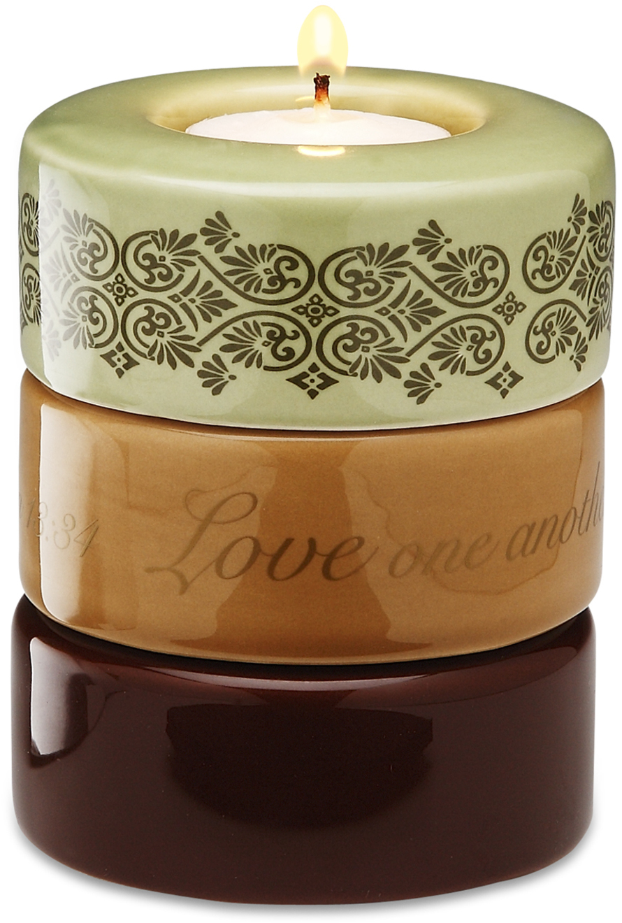 "Love (Green) by Calla - Trio - Love (Green) - 3.25""x4"" Stack Candle Holder"