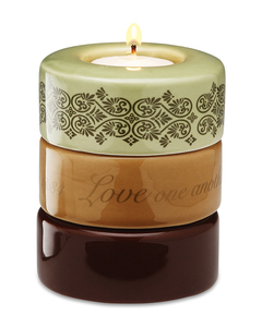 "Love (Green) by Calla - Trio - 3.25""x4"" Stack Candle Holder"