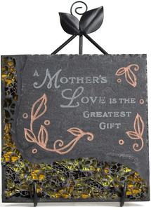 "Mother Mosaic by Fragments - 5"" Slate Sq. Plaque w/Stand"