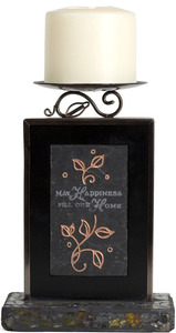 "Happiness Mosaic by Fragments - 8"" Slate Candle Holder"