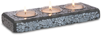 "Tea Light Tray (3) by Fragments - 3.25""x8.25"" Mosaic Glass"