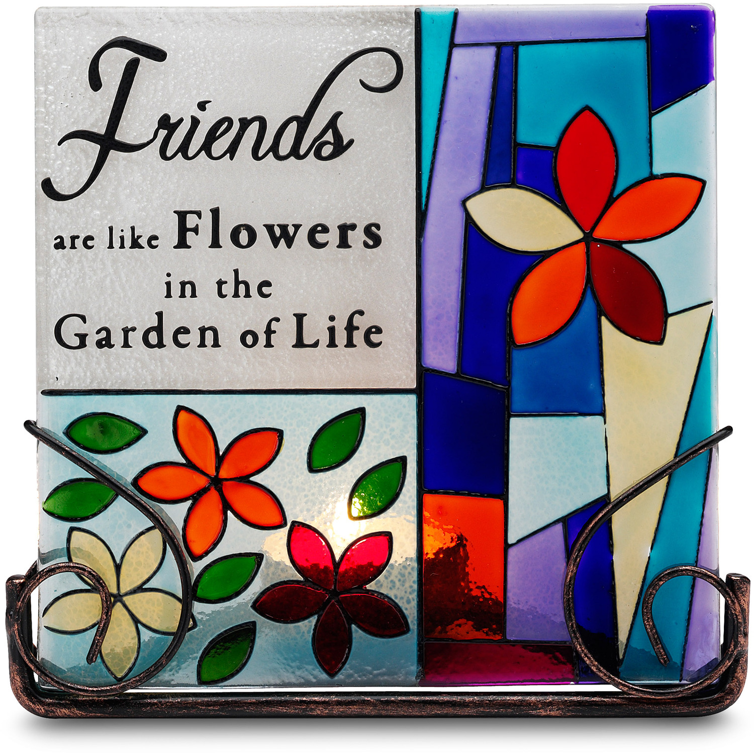 "Friends by Shine on Me - Friends - 5"" Glass Tea Light Holder"