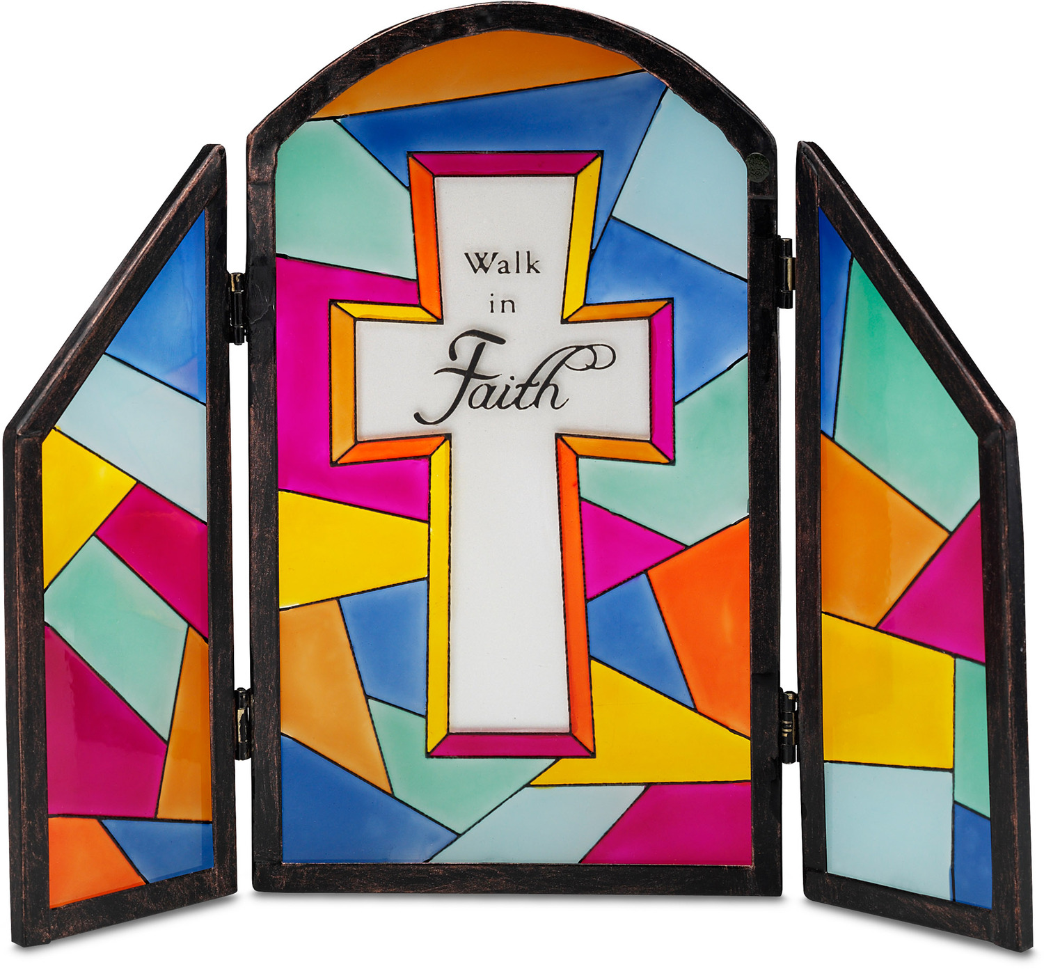 "Walk in Faith by Shine on Me - Walk in Faith - 7""x6"" Glass Panel Plaque"
