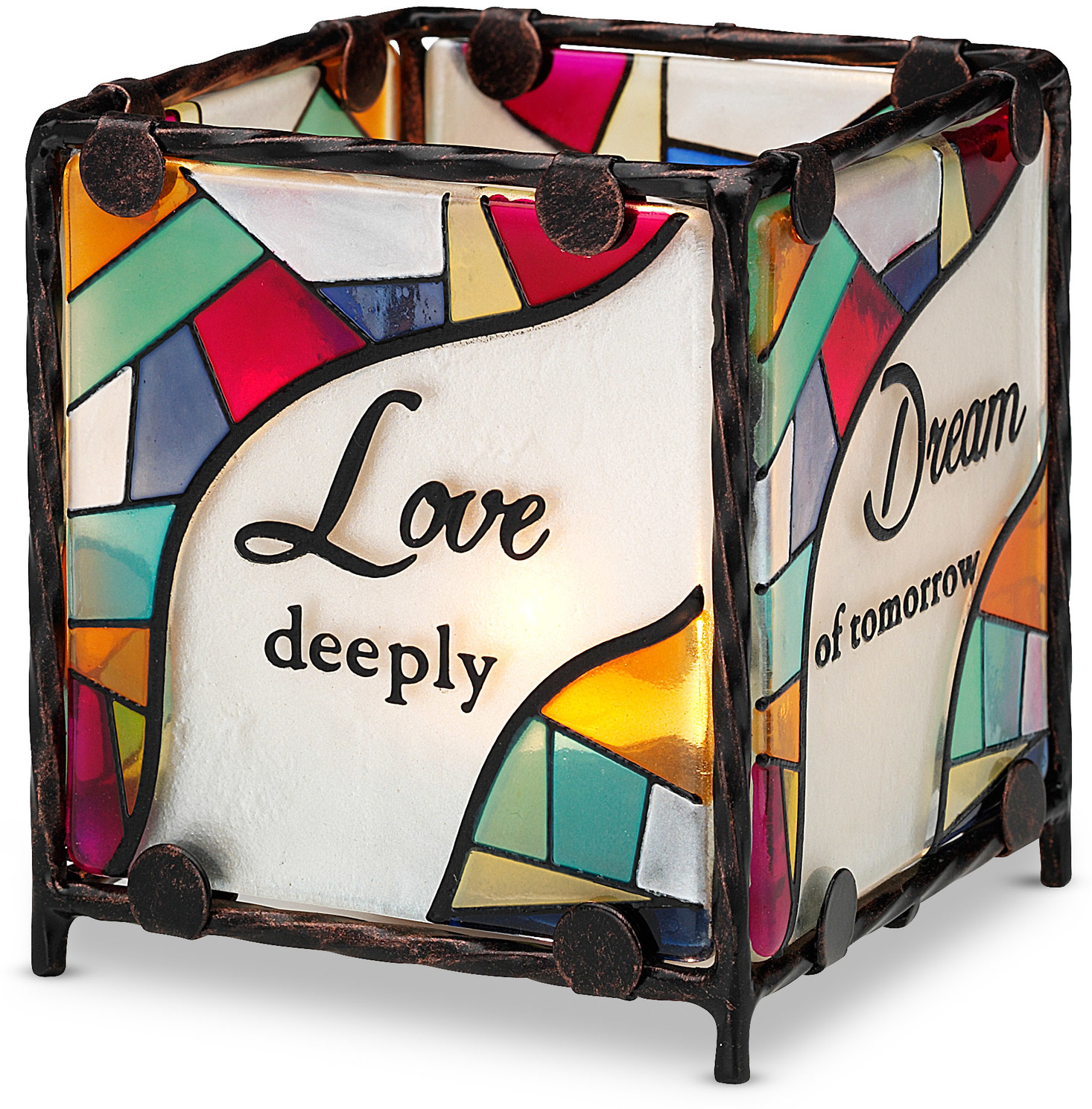 "Love Dream Cherish Believe by Shine on Me - Love Dream Cherish Believe - 3"" x 3"" Glass Candle Holder"