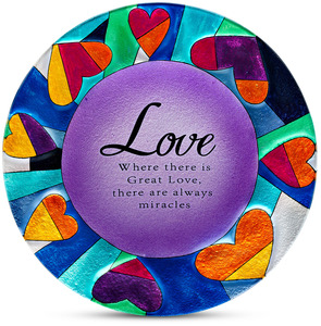 "Love by Shine on Me - 12"" Round Glass Plate"