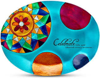 "Celebrate by Shine on Me - 12"" x 9"" Oval Glass Plate"