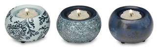 "Teal Mini Tea Light Holders by UpWords - 2.5"" Ceramic & Mosaic Set/3"
