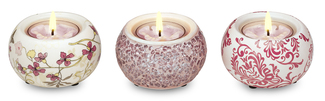 "Pink Mini Tea Light Holders by UpWords - 2.5"" Ceramic & Mosaic Set/3"