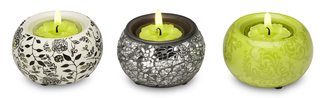 "Chartreuse Mini TeaLight Hol by UpWords - 2.5"" Ceramic & Mosaic Set/3"
