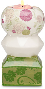 "Green & Pink Floral by UpWords - 5.5"" Tea Light Holder"