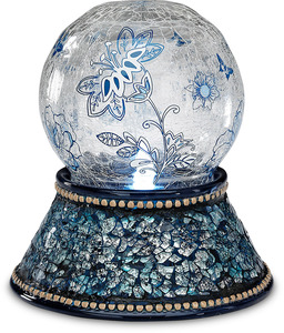 "Navy Mosaic by UpWords - 5"" Glass Illuminated Orb"