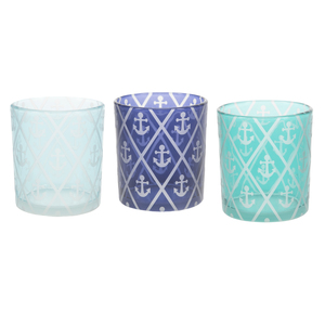 Blue Anchor by Candle Decor - 3 Assorted Votive Holders