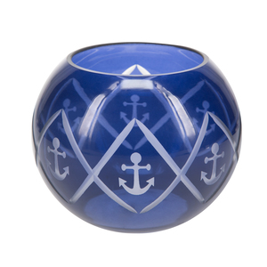 "Blue Anchor by Candle Decor - 5"" Round Votive Holder"