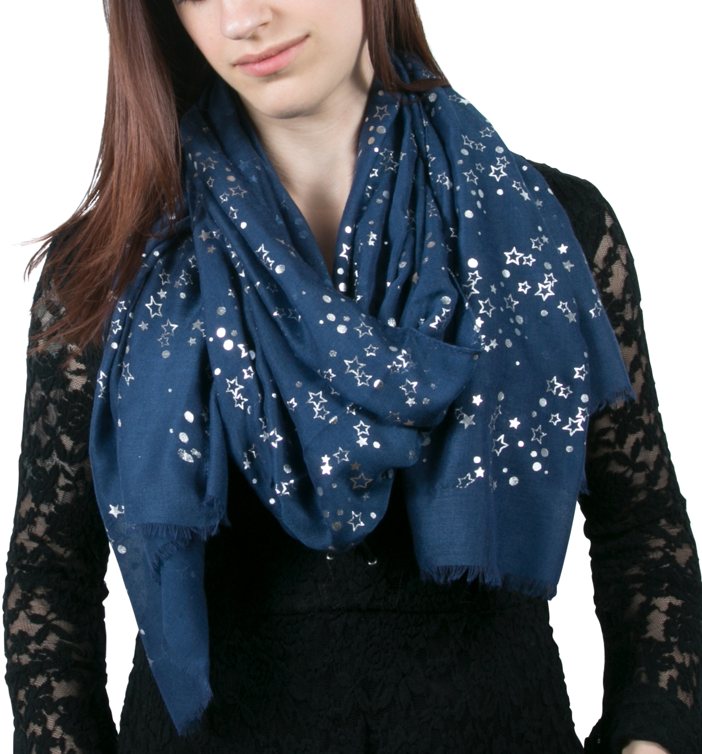 "Star Navy by Forever in our Hearts - Star Navy - 27.5"" x 71"" In Memory Scarf"