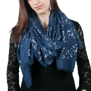 "Star Navy by Forever in our Hearts - 27.5"" x 71"" In Memory Scarf"