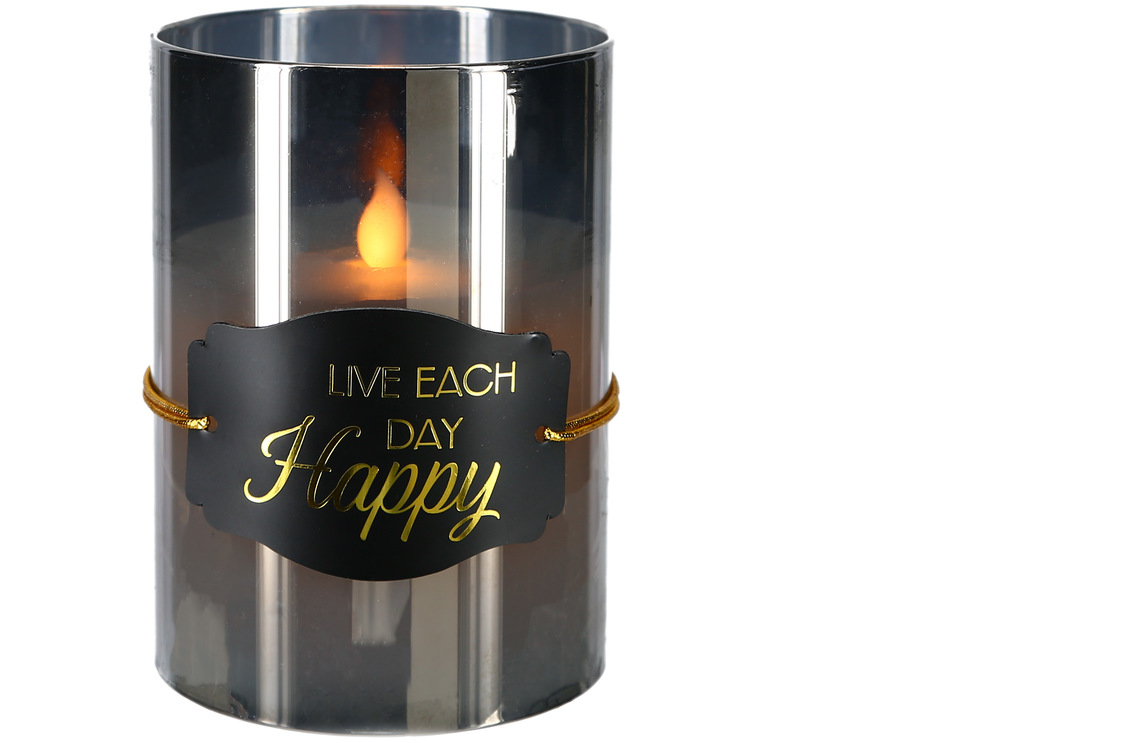 "Happy by Candle Decor - Happy - 5"" Smoke Luster Realistic Flame Candle"