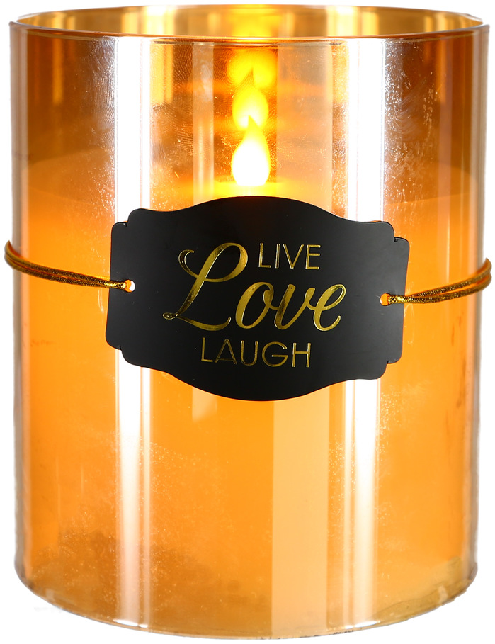 "Live Love Laugh by Candle Decor - Live Love Laugh - 6"" Amber Luster Realistic Flame Candle"