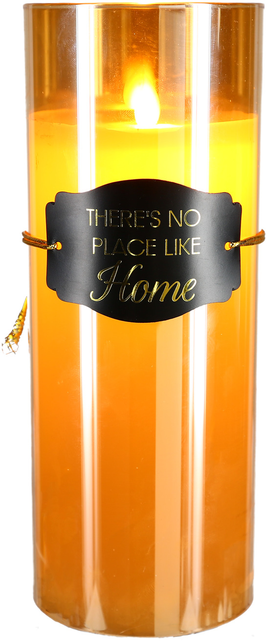 "No Place  by Candle Decor - No Place  - 9"" Amber Luster Realistic Flame Candle"