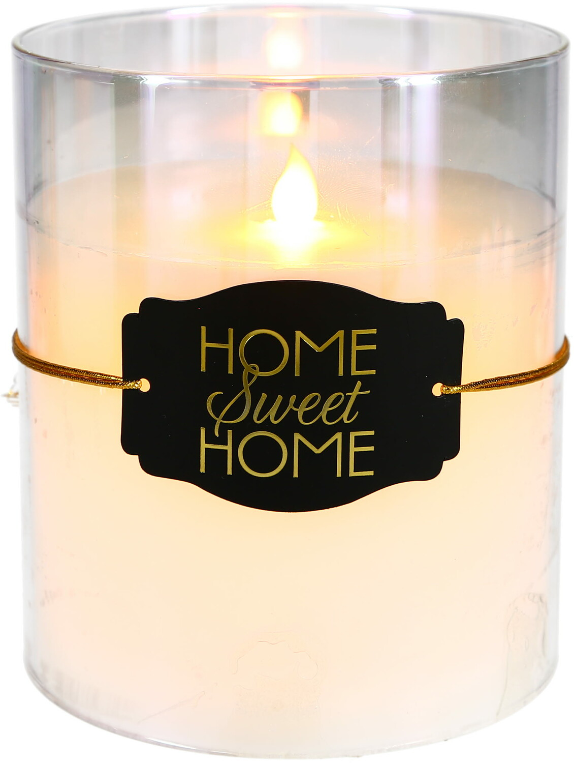 "Home Sweet Home by Candle Decor - Home Sweet Home - 6"" Clear Luster Realistic Flame Candle"