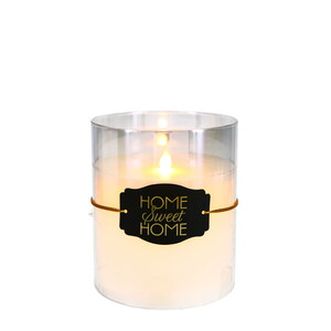 "Home Sweet Home by Candle Decor - 6"" Clear Luster Realistic Flame Candle"