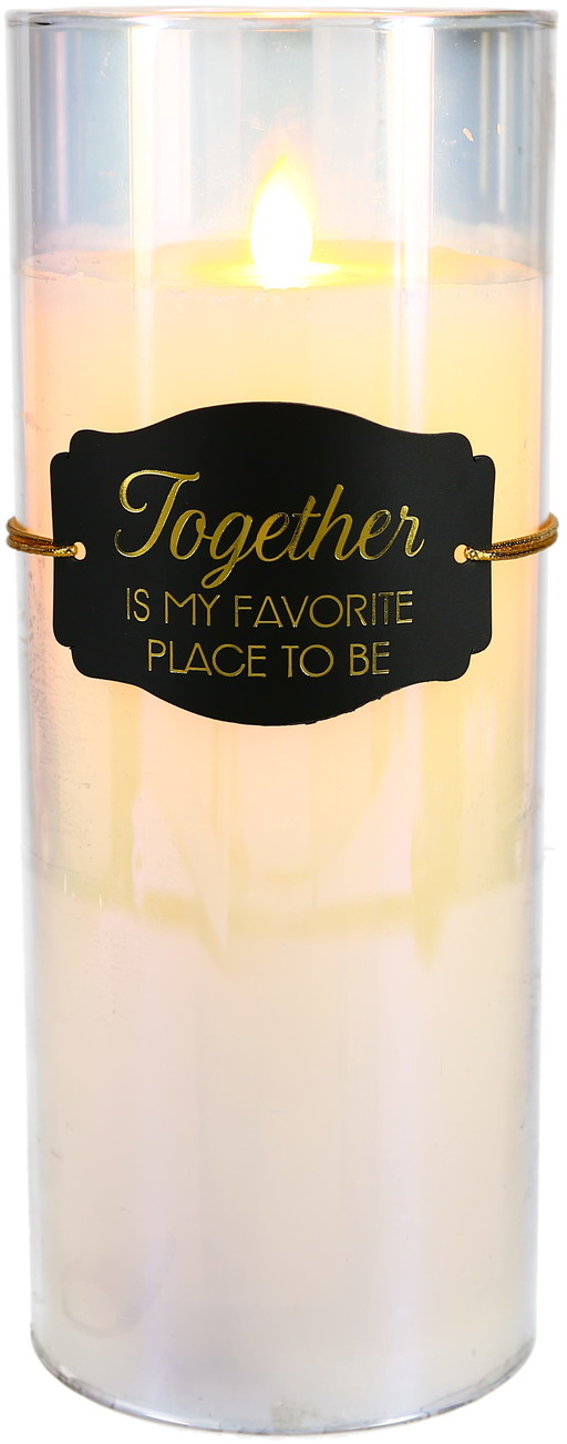 "Together by Candle Decor - Together - 9"" Clear Luster Realistic Flame Candle"